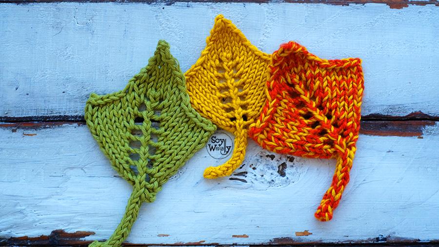Como tejer hojas de arce en dos agujas palillos tricot