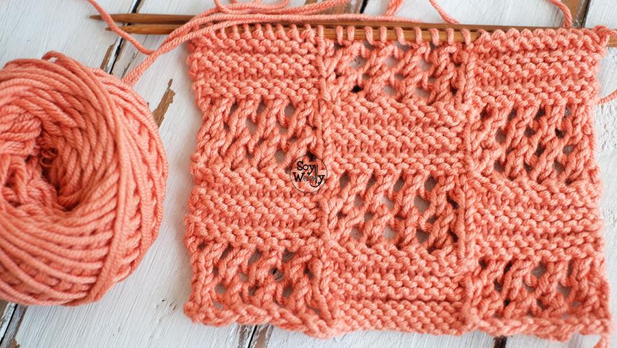 Cuadros tejidos con calados dos agujas tricot palillos