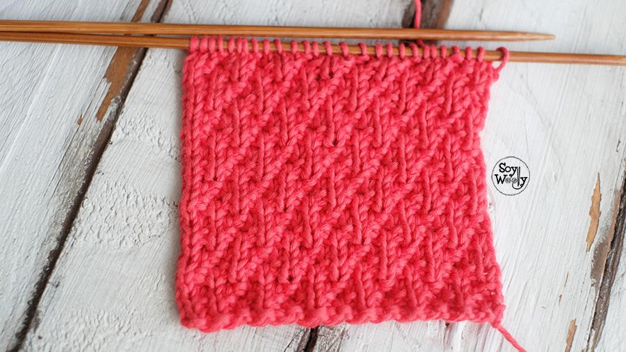 Puntada para tejer bufandas dos agujas tricot palillos