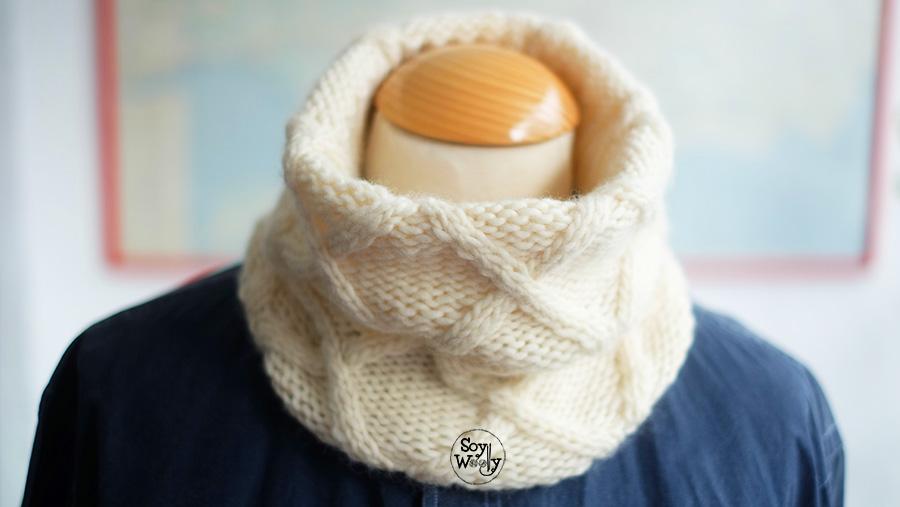 Patron tutorial tejer cuello hombre a palillos tricot palitos