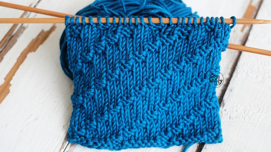 Punto Mini Cuadros diagonales para tejer bufandas tricot palillos