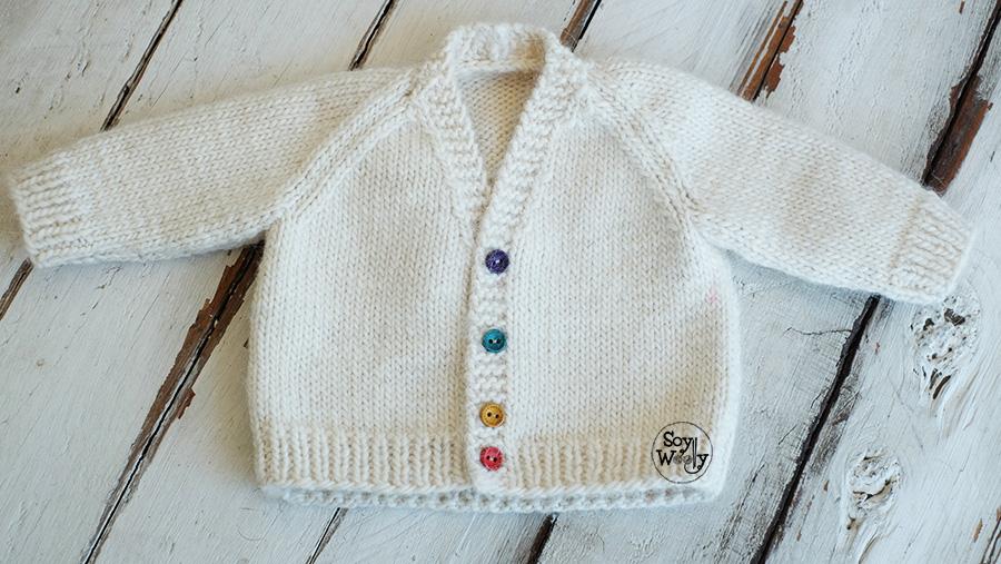 Rebeca Raglan Cuello V Bebe dos agujas calceta tricot