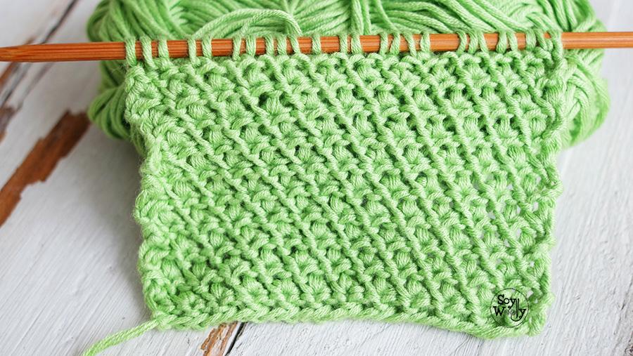 Punto facil para tejer bufandas dos agujas doble faz