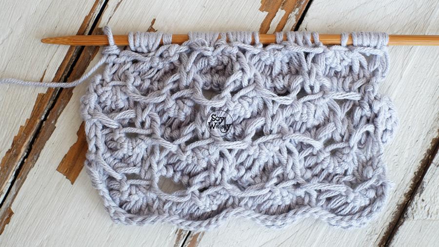 Punto Cocodrilo 3D tejido a palillos, palitos, tricot