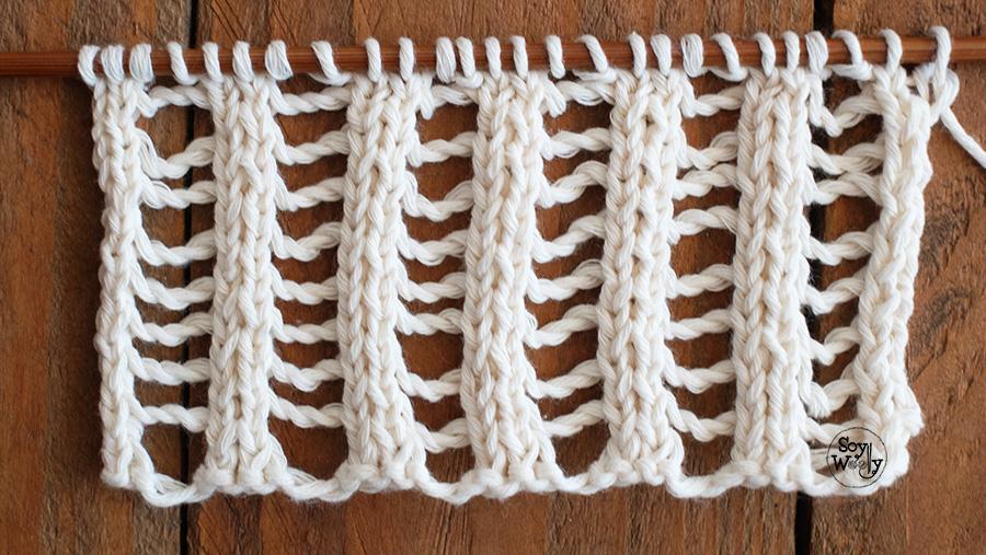 Punto Elastico Calado Doble tejido tricot, palillos, palitos