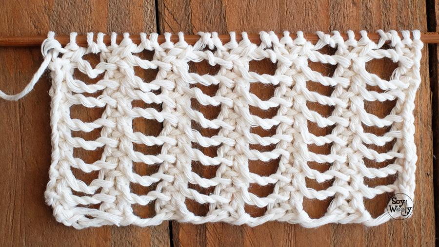 Puntos Calados para tejer bufandas, chales rectangulares, tops, en dos agujas