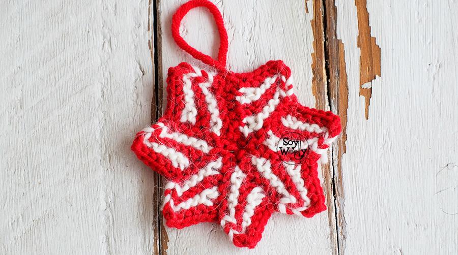 Estrella de Navidad tejida a palitos, palillos, calceta. Patrón y vídeo tutorial.