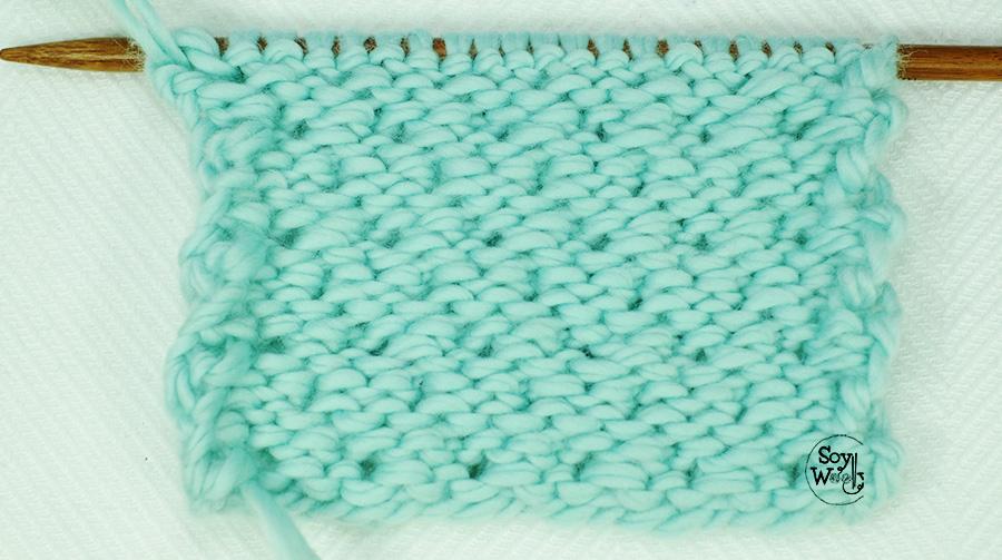 Puntada Malla Diagonal tejida a palitos, calceta, tricot (no reversible)