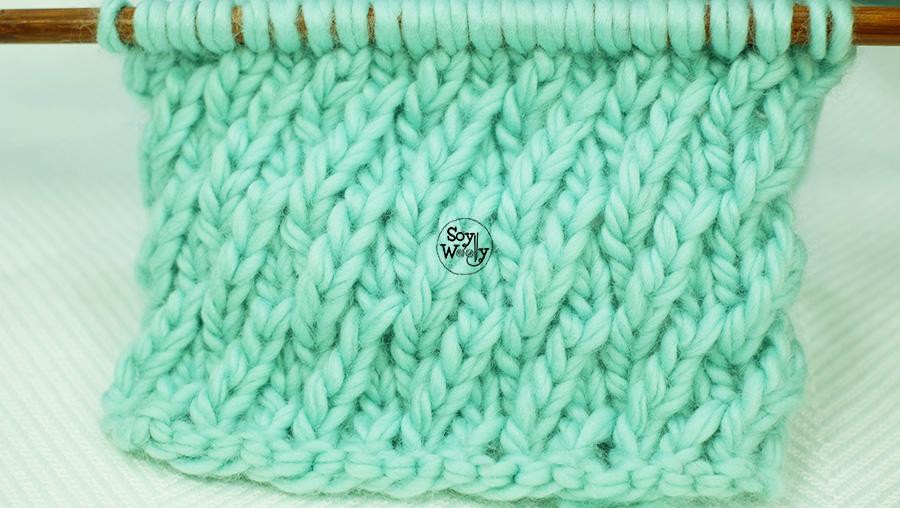 Punto de Malla Diagonal, para tejer cuellos, gorros y jerséis en dos agujas