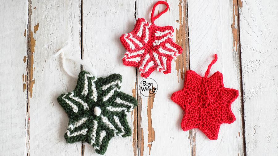Adornos de Navidad tejidos en dos agujas, calceta, tricot. Soy Woolly.