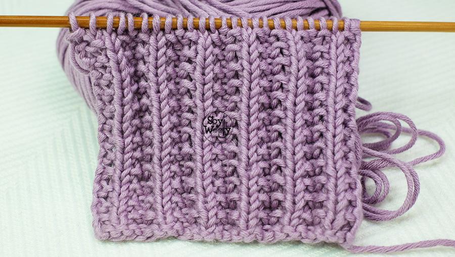 Puntada Reversible para tejer bufandas y mantas en dos agujas o palitos. Soy Woolly.