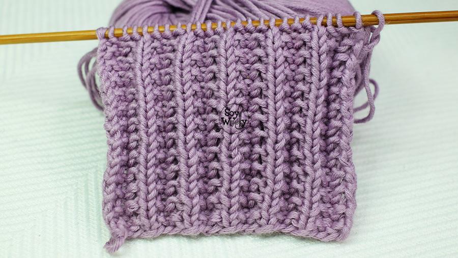 Puntada fácil para tejer bufandas, ideal para principiantes de las dos agujas, tricot, calceta. Soy Woolly.