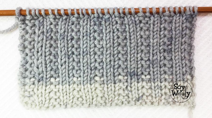 Puntada reversible fácil para tejer cuellos, bufandas de chico y chica en dos agujas, palillos, tricot. Soy Woolly.