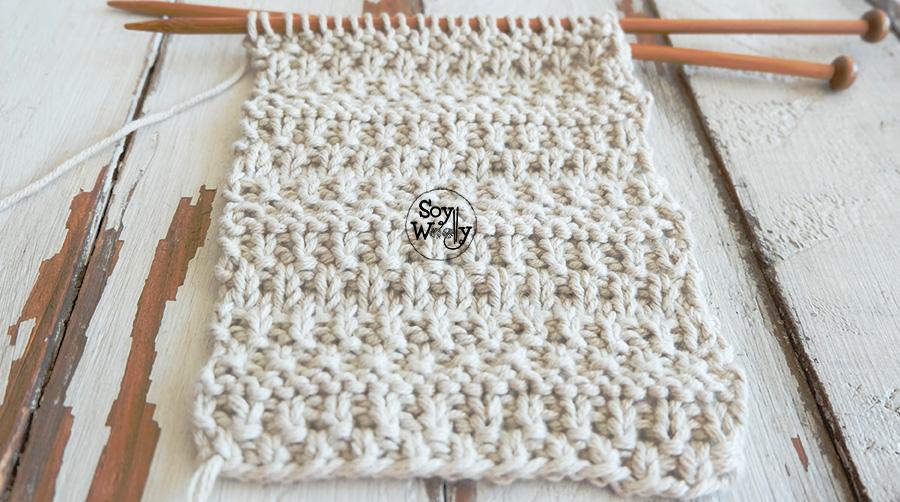 Punto reversible para tejer mantas, colchas, bufandas en dos agujas, palillos