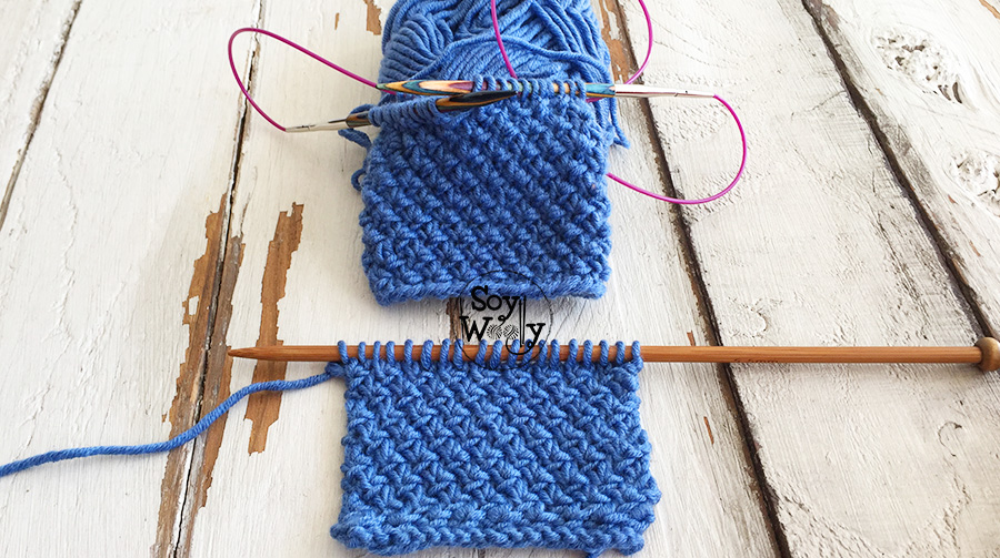 Puntada Flor de las Nieves tubular, tejida con agujas circulares. Soy Woolly.