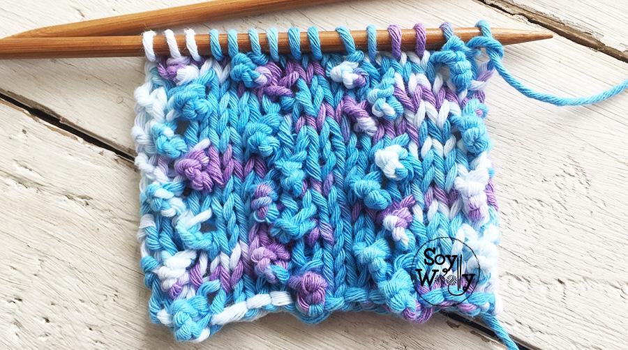 Puntada Popcorn para tejer ropa de niños con lanas jaspeadas dos agujas. Soy Woolly.