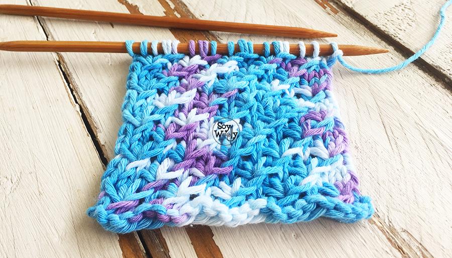 Puntadas para tejer con lanas matizadas en dos agujas. Soy Woolly.