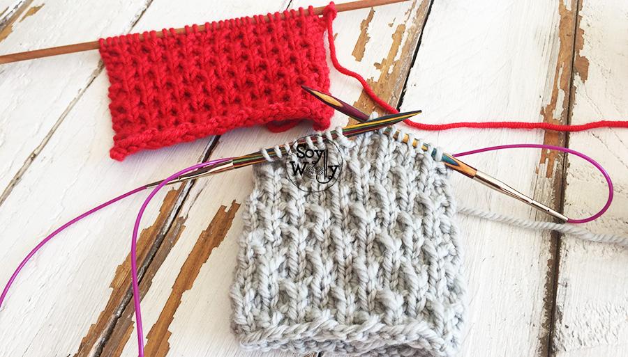 Punto Nido de Abeja tejido tubular con circulares calceta, tricot. Soy Woolly.