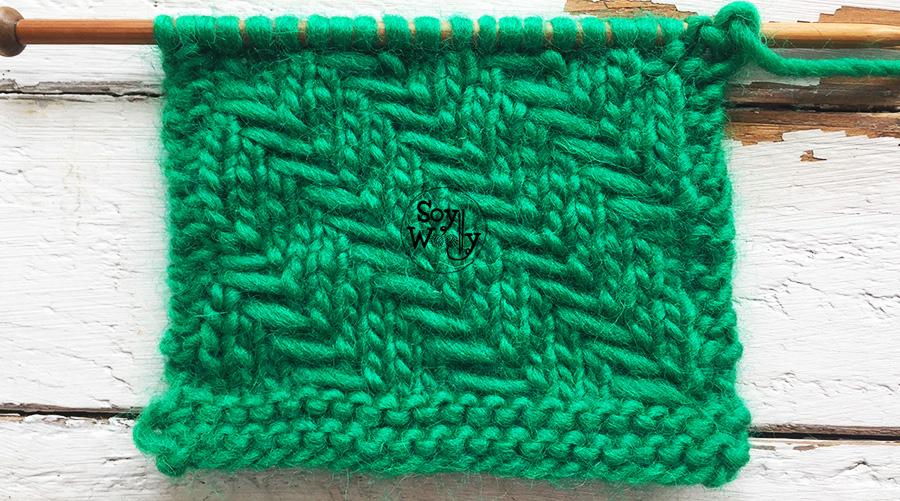 Punto para tejer cojines, manteles, mantas, bolsos en dos agujas (tricot, calceta). Soy Woolly.
