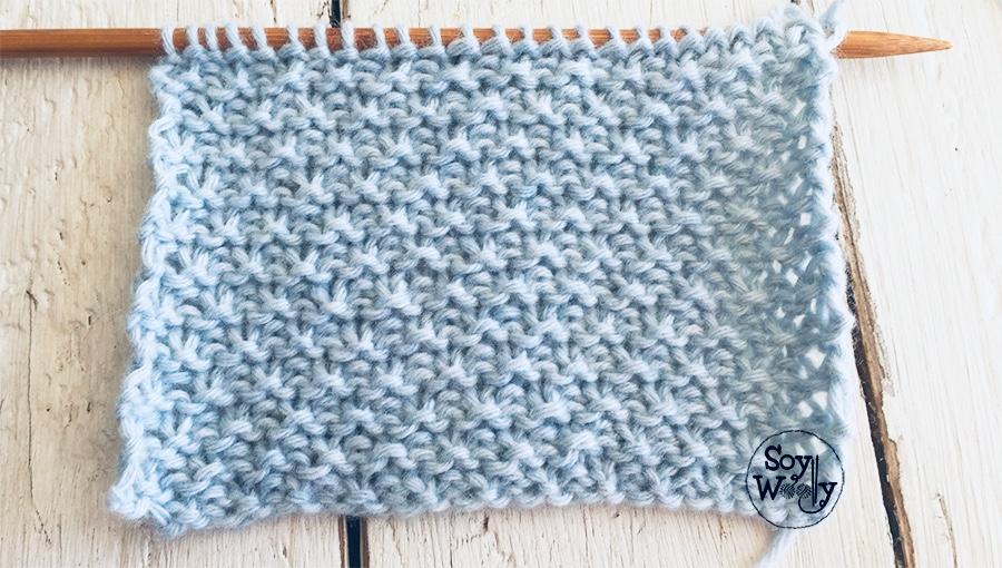 Puntada o Punto Arena, especial para tejer mantas o colchas en dos agujas, calceta. Soy Woolly.