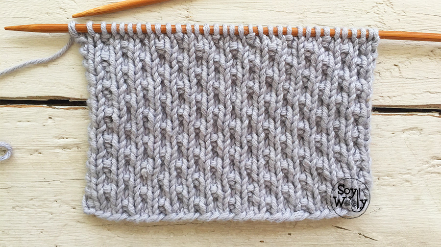 Puntadas reversibles fáciles tejidas dos agujas, palillos, tricot, calceta, palitos. Soy Woolly.