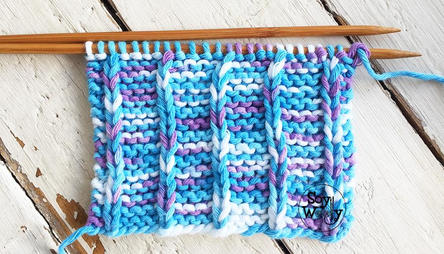 Punto líneas verticales tejido en dos agujas, palillos, tricot, calceta. Súper fácil, ideal para principiantes. Soy Woolly.