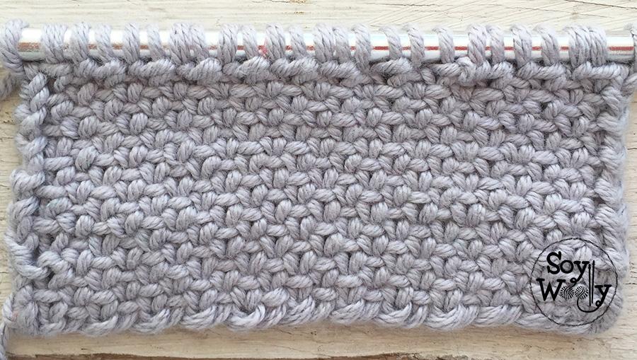 Puntadas que no se enroscan tejidas en dos agujas, tricot, calceta. Soy Woolly.