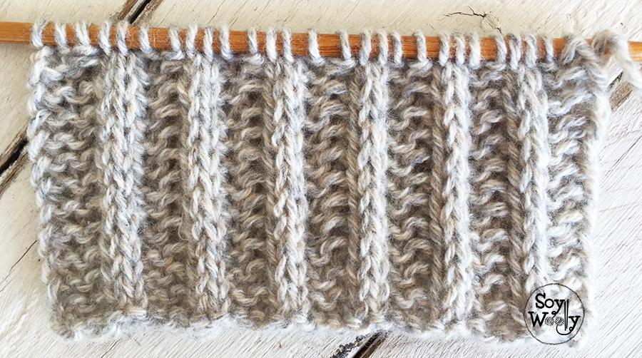 Punto Acanalado reversible para tejer bufandas