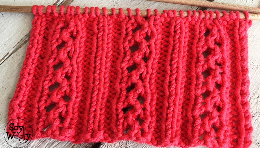 Cómo tejer zig-zags calados en dos agujas, tricot, calceta. Soy Woolly.