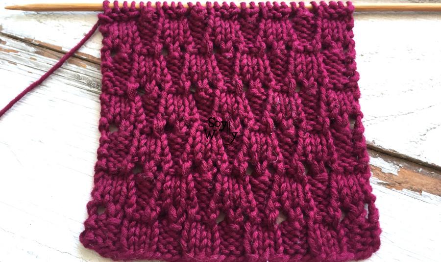 Puntada reversible para tejer cuellos y bufandas a palillos (tricot o calceta). Soy Woolly.
