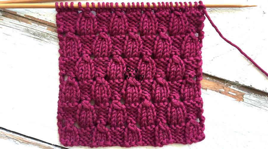 Punto Bellota para tejer bufandas dos agujas. Soy Woolly.