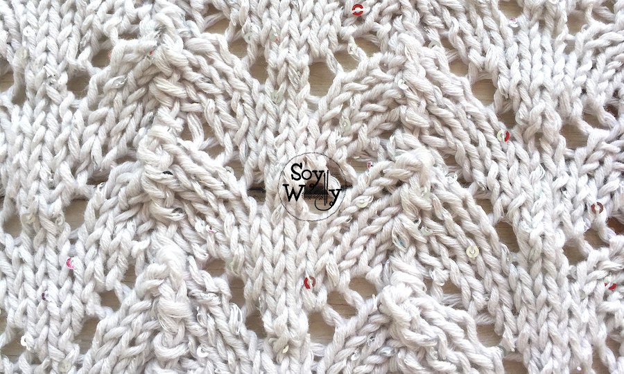 Cómo tejer el punto Herradura calado en dos agujas (tricot, calceta), paso a paso. Soy Woolly.