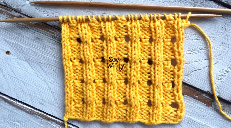 Puntos Calados que no se enroscan tejidos en dos agujas, palitos, tricot. Soy Woolly.