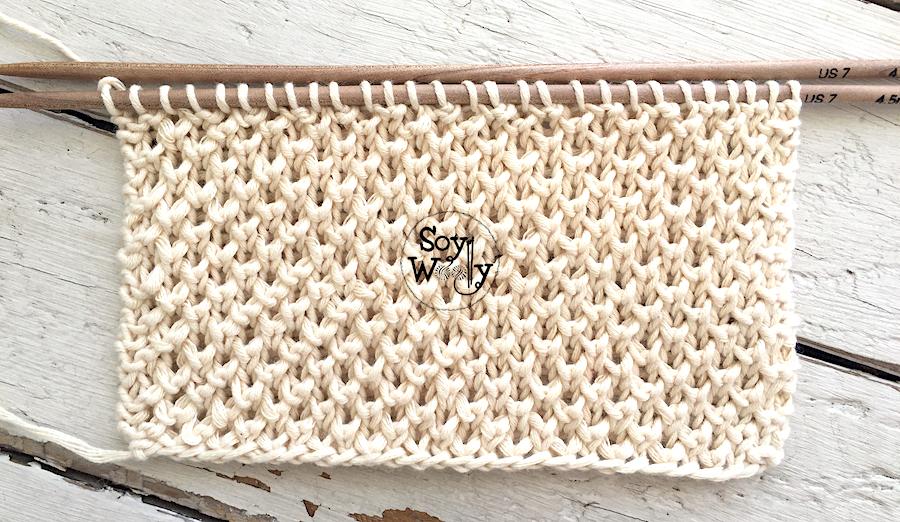 Medio Punto Brioche tejido en dos agujas, palillos, tricot. Soy Woolly.