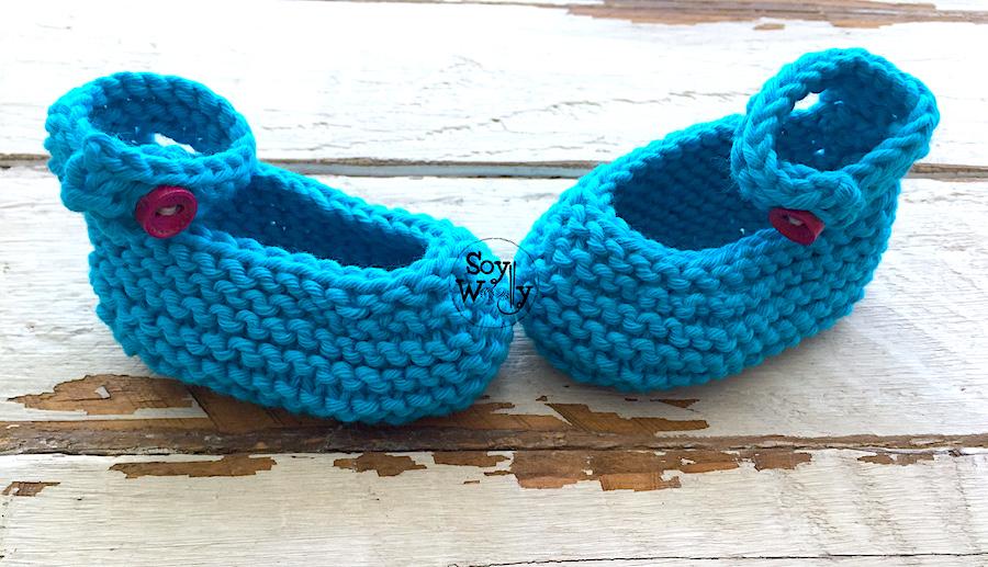 Patrón para tejer botitas, zapatos, Manoletinas, en dos agujas palillos, tricot. calceta. Soy Woolly.