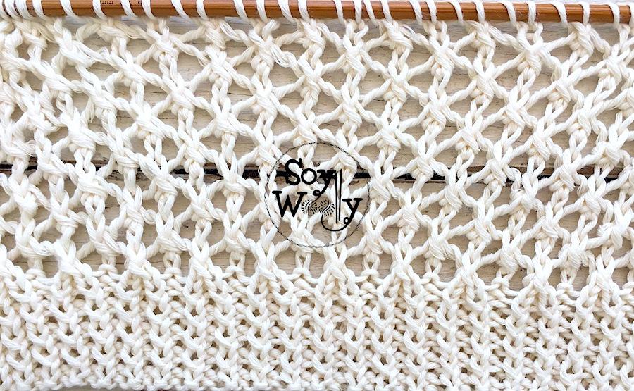 Cómo tejer el Punto Celda calado a palillos, tricot, calceta. Soy Woolly.