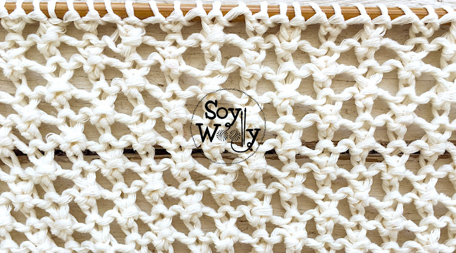 Muestrario de puntadas caladas fáciles tejidas en dos agujas o palitos. Soy Woolly.
