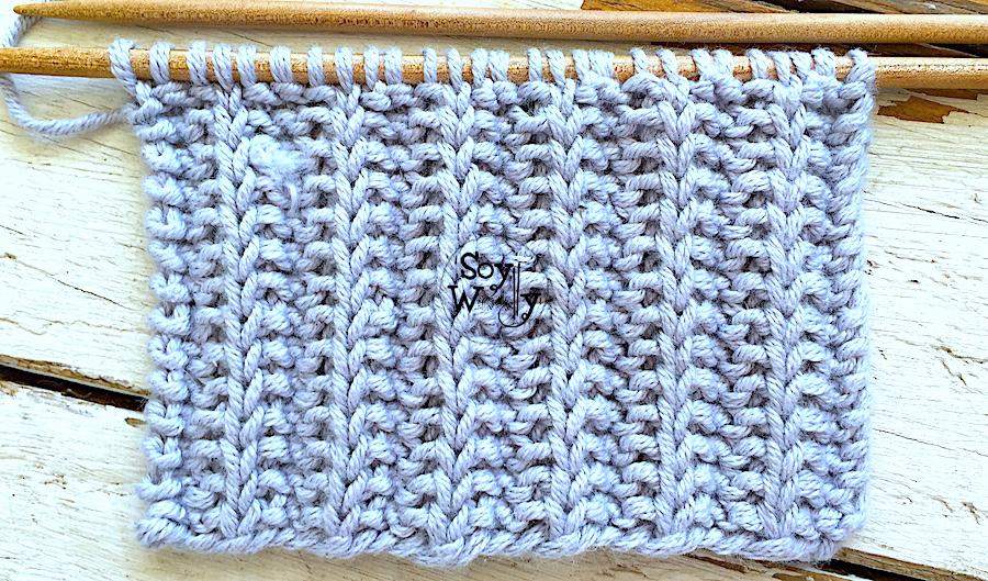 Puntada reversible muy fácil para tejer mantas cuellos y bufandas a palillos. Soy Woolly.