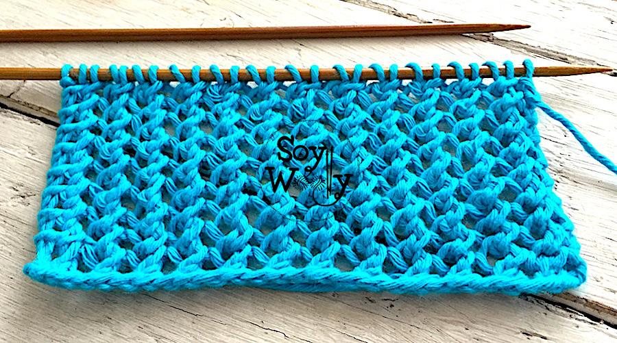 Punto de Encaje súper fácil tejido en dos agujas, palillos, tricot, calceta, en sólo cuatro vueltas. Soy Woolly.